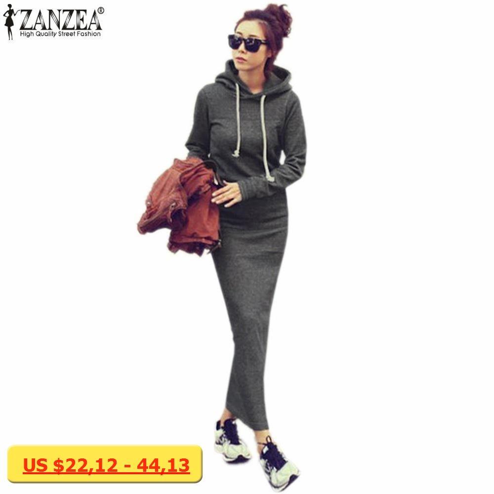 Zanzea autumn winter women black sweater dress warm fur fleece