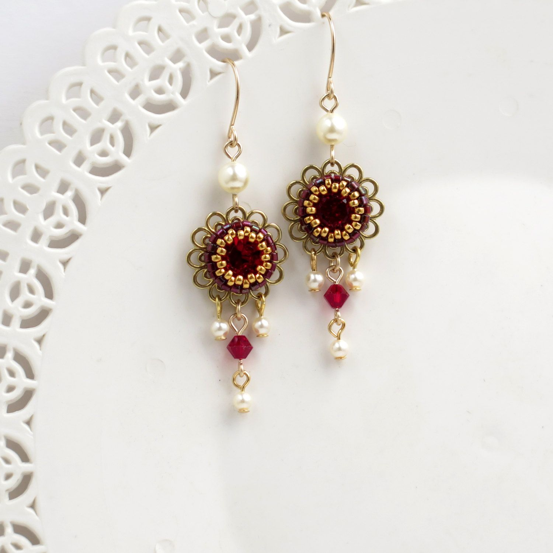 Red crystal earrings flower dangle earrings romantic earrings red crystal earrings flower dangle earrings romantic arubaitofo Choice Image