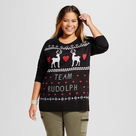 womens plus size team rudolph ugly christmas sweater black lol vintage target
