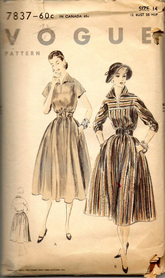 Vogue 7837 1950s Misses Pullover Dress Pattern  Shaped Collar Full Gathered Skirt womens vintage sewing pattern by mbchills