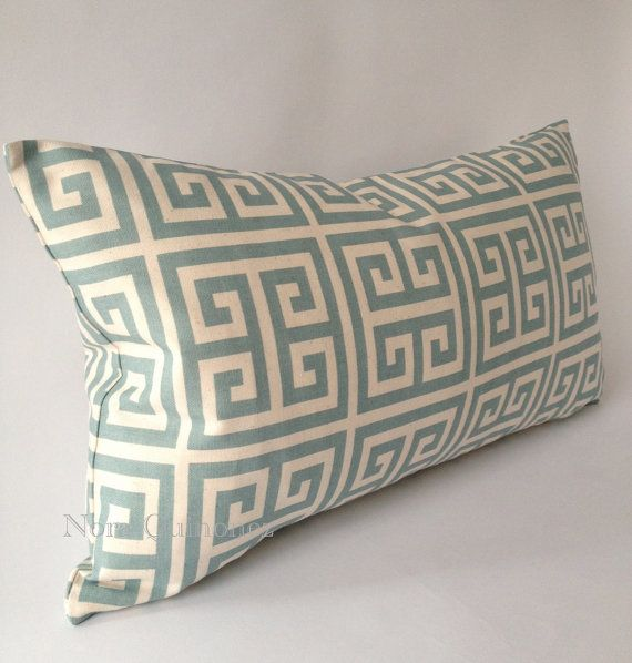 10x20 Sage Blue Greek Key Decorative Bolster COVER ONLY 20