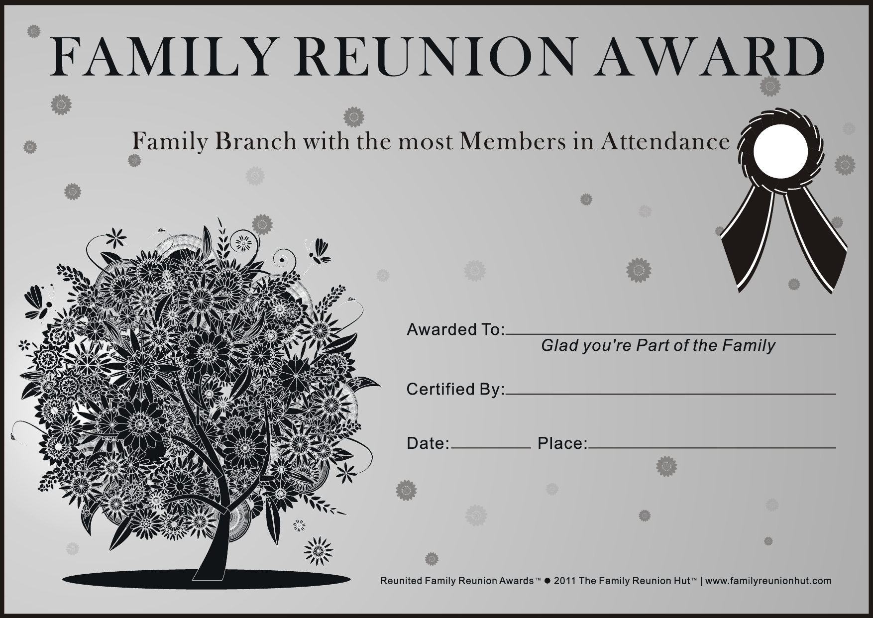Family Reunion Ideas Family Reunion Certificates Oak