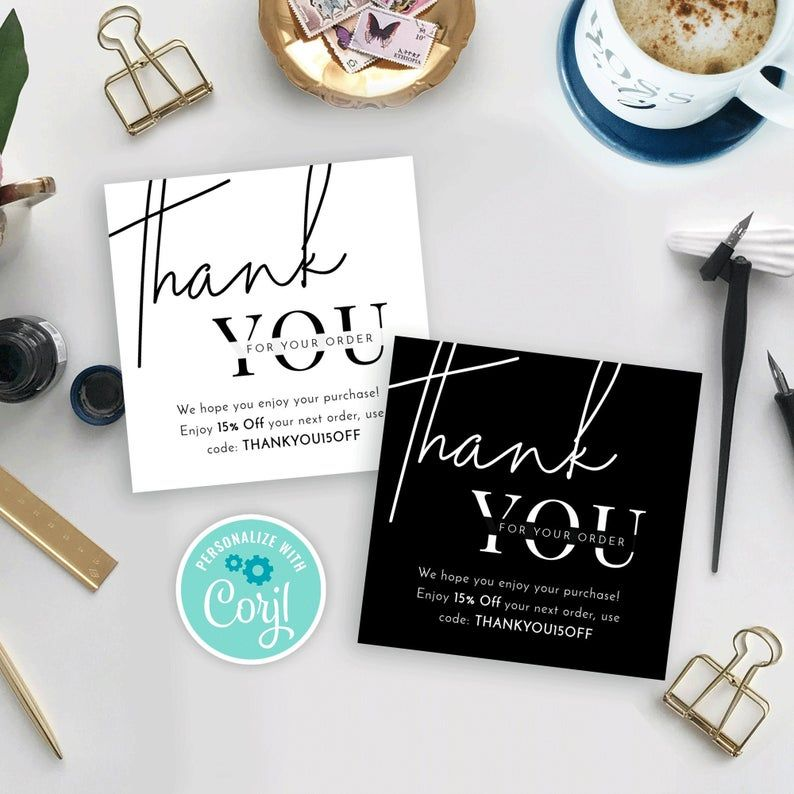 Mini Thank You For Your Order Card Template Minimalist Square Etsy In 2021 Business Thank You Cards Thank You Card Template Thank You Card Design