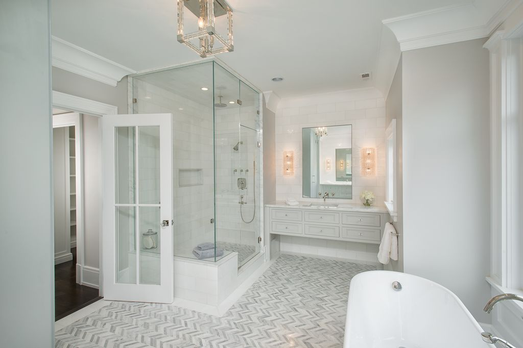 Traditional Master Bathroom With Rain Shower Head Drop In Bathtub High Ceiling Inset Cabinets Cro Crown Molding Bathroom Mold In Bathroom Bathrooms Remodel