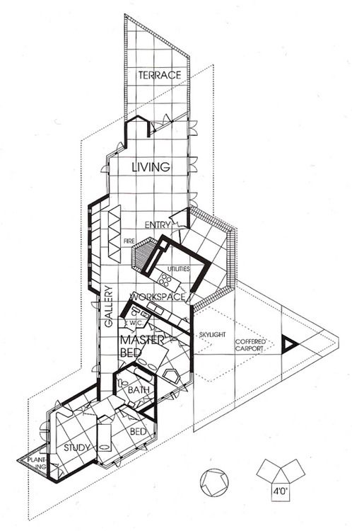 J willis hughes residence fountainhead usonian style for Cheap architectural drawings
