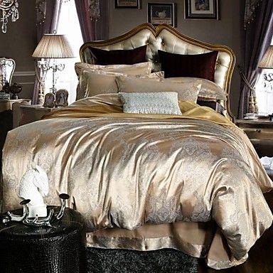 Champagne Jacquard Silk Cotton 400TC Duvet Cover Bedding Set European 4pc 6pc