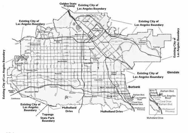 San Fernando Valley CA Map of Pacoimas Mural Mile by artist Levi