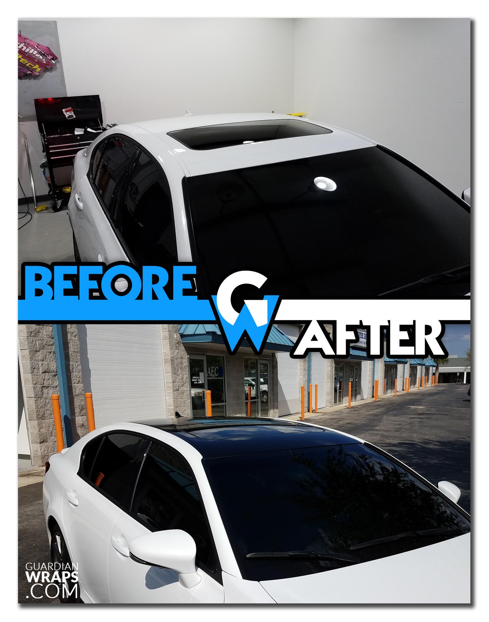 2014 Lexus Gs350 Matte Black Roof Vinyl Wrap Before