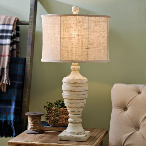 Distressed Cream Ridged Table Lamp Stylish Table Lamps Lamps Living Room Table Lamp