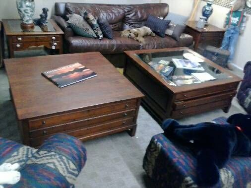 bob timberlake large coffee table w glass top map table w drawers