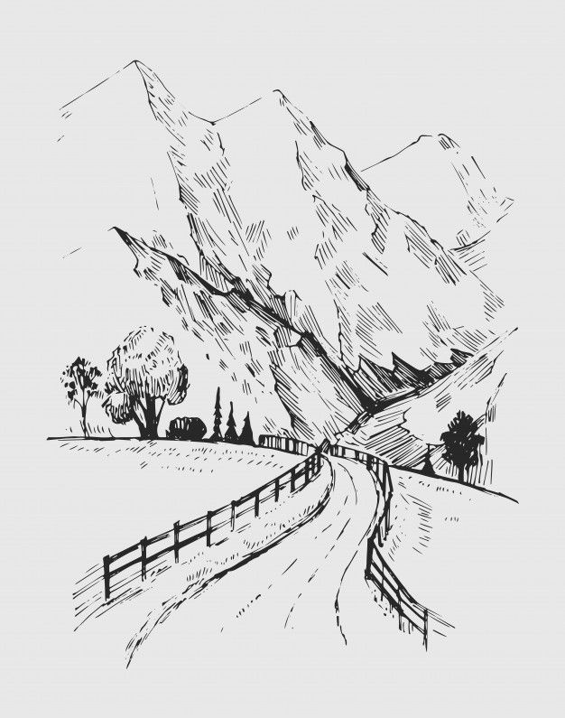 Sketch Of A Landscape With A Road And Mountains. H
