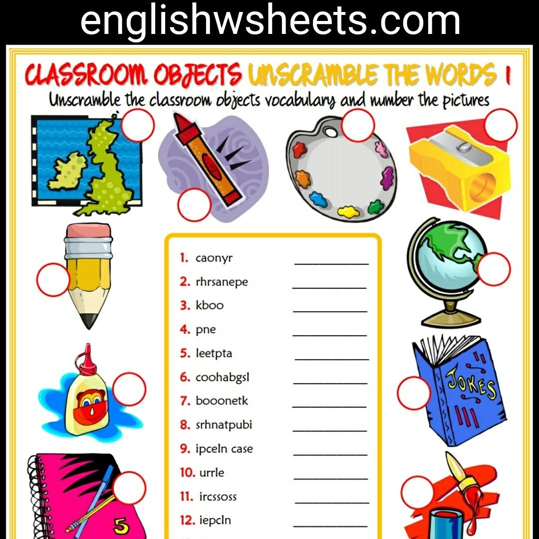 Classroom Objects Esl Printable Unscramble The Words