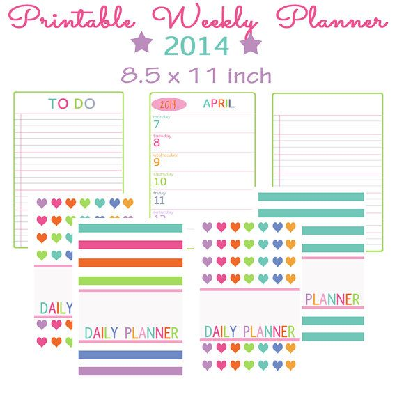 Printable 2014 Weekly Planner For Full Size By