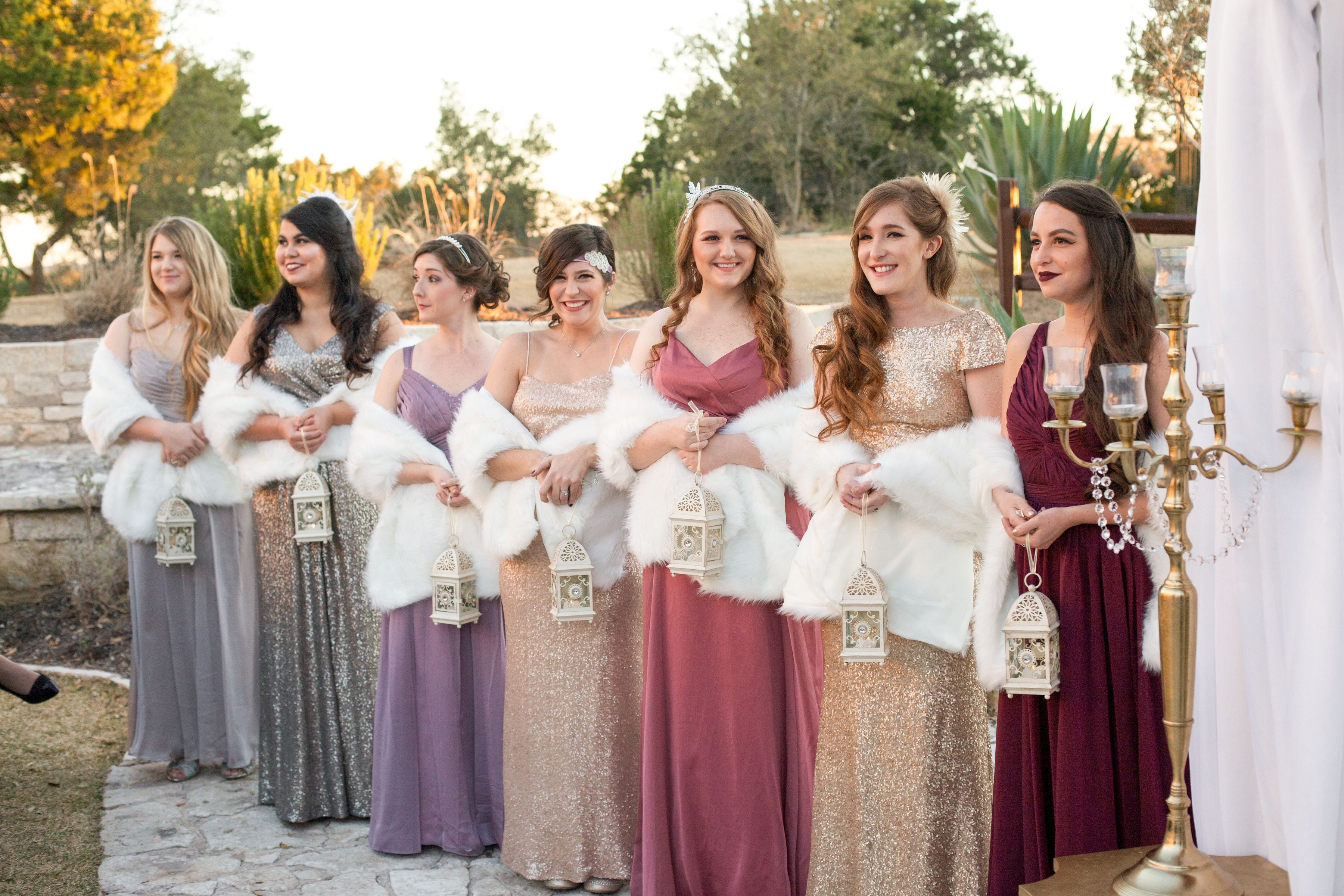 Sequin metallic mismatched old hollywood bridesmaids dresses bridesmaids idea for vintage wedding bridesmaids carried vintage lanterns instead of bouquets george street photo video ombrellifo Choice Image