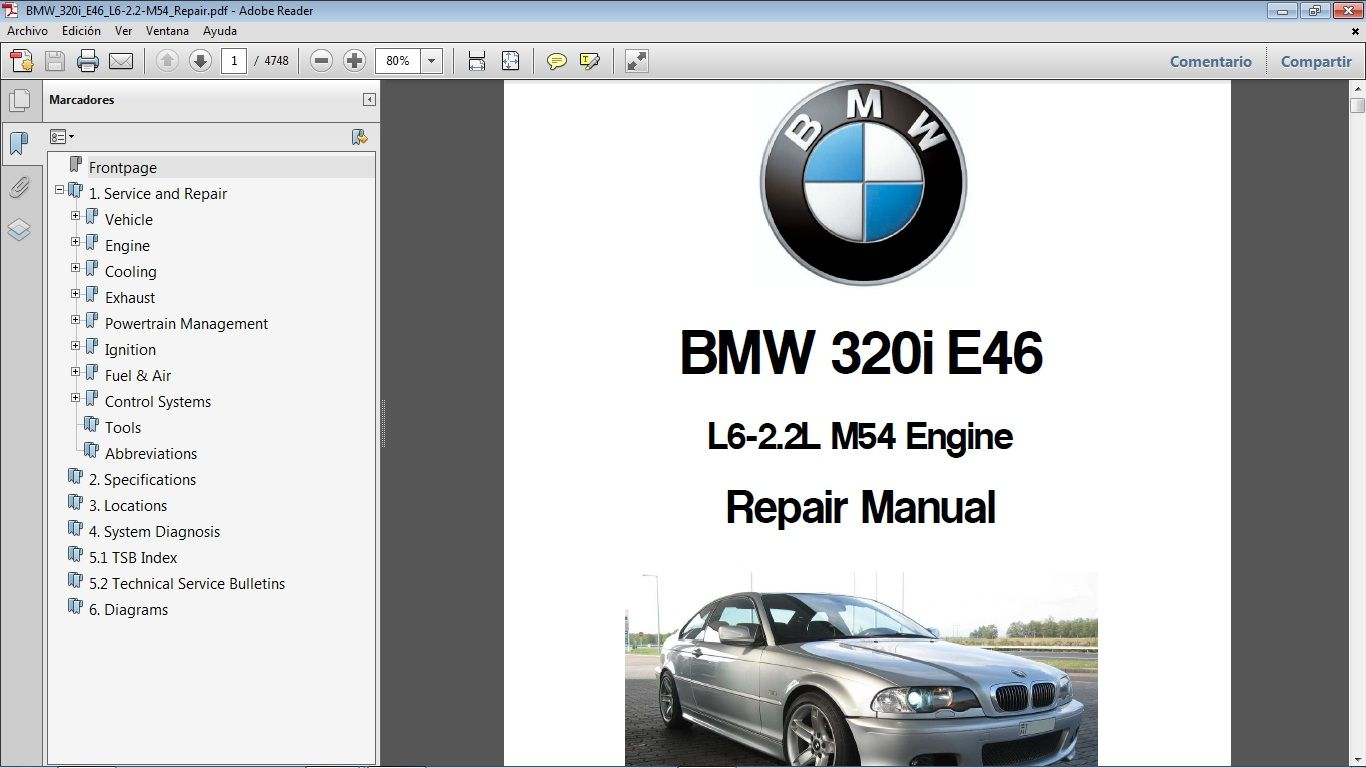 Bmw 320i E46 Motor M54 2 2l Workshop Repair Manual Manual De Taller Repair Manuals Bmw Repair