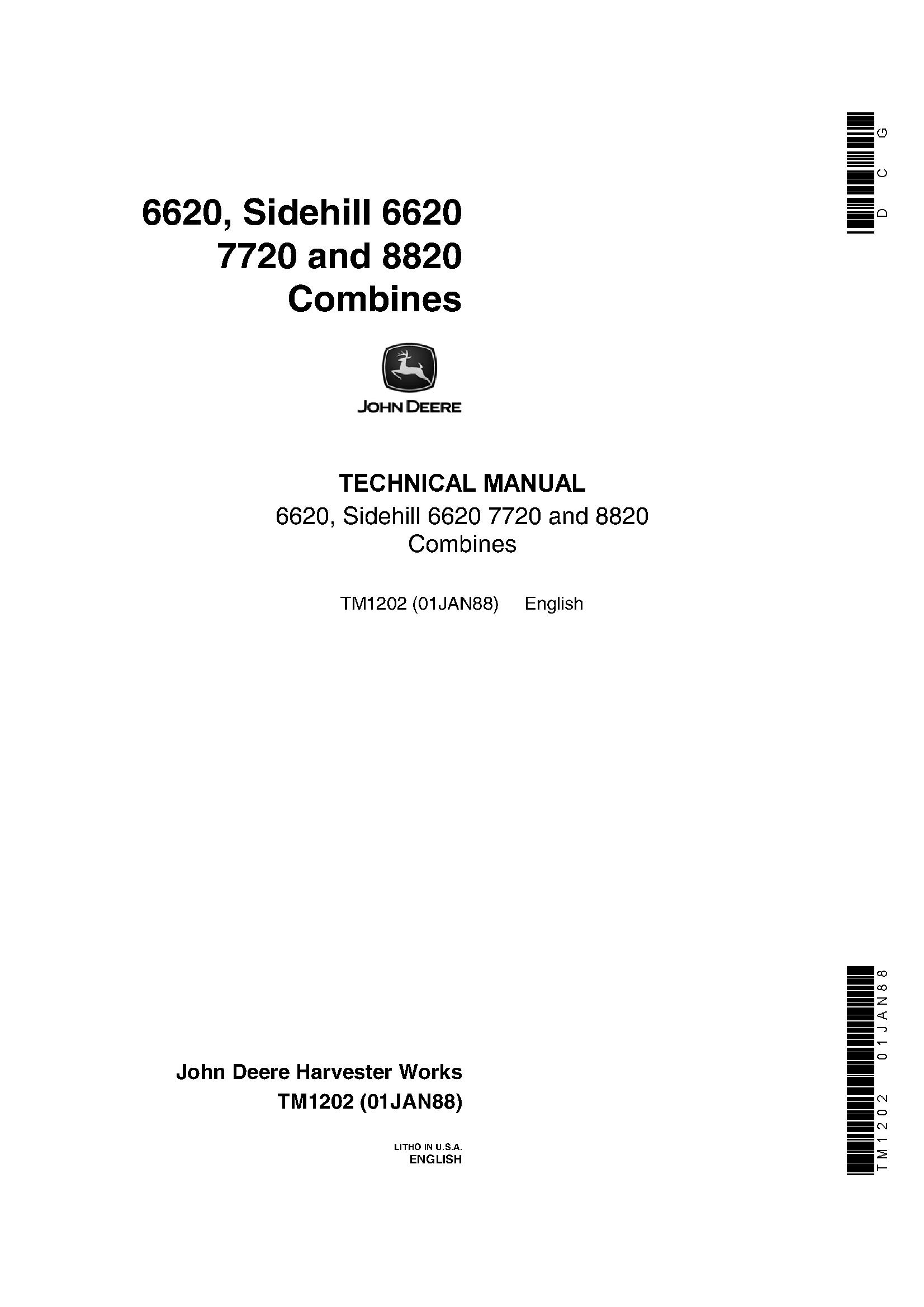 OPERATORS MANUAL FOR JOHN DEERE 6620 /& SIDEHILL 6620 7720 8820 COMBINE OWNERS