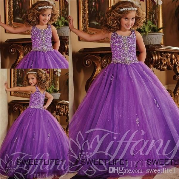 2015 Glitz Pageant Dresses for Little Girls Crystal Organza Lace ...
