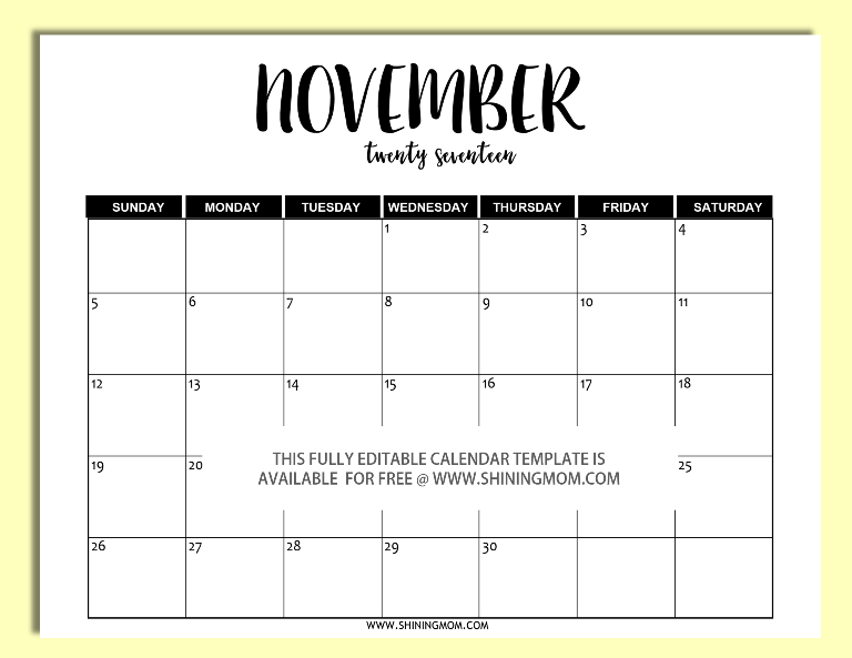 Free Printable: Fully Editable 2017 Calendar Templates In Word Format  Calendar Template On Word