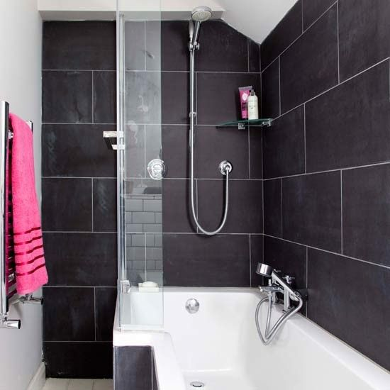 Shower bath and oversized tiles | Bathroom | PHOTO GALLERY | Style at Home  | Housetohome