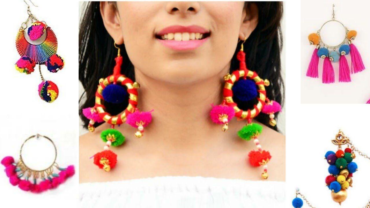 Pom Pom earring designs JEWELLERY MAKING designer silk