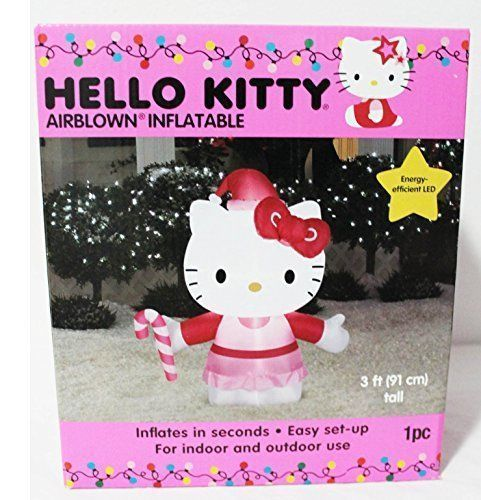 Hello Kitty Airblown Inflatable 3 Foot Energy Efficient LED - inflatable christmas yard decorations