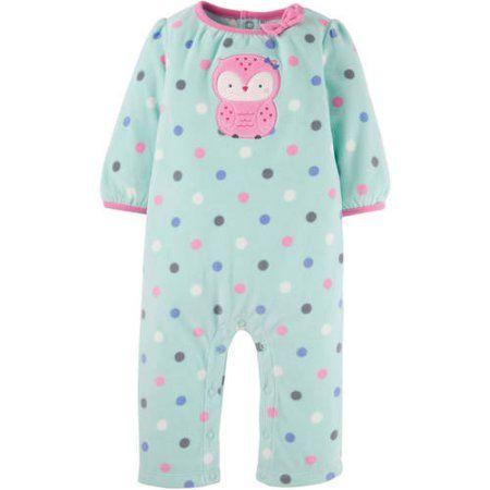 Child of Mine by Carter's Newborn Baby Girl Assorted Microfleece Jumpsuits - Walmart.com