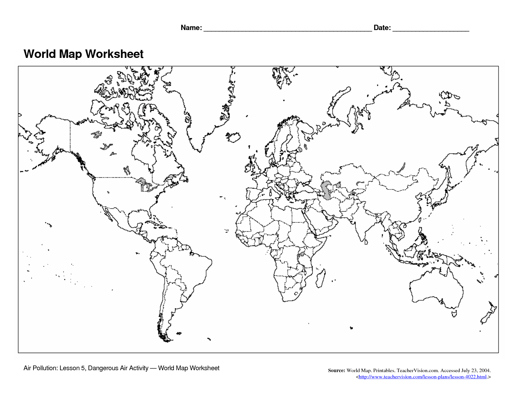 5 Best Images Of World Map Printable Worksheet New ...