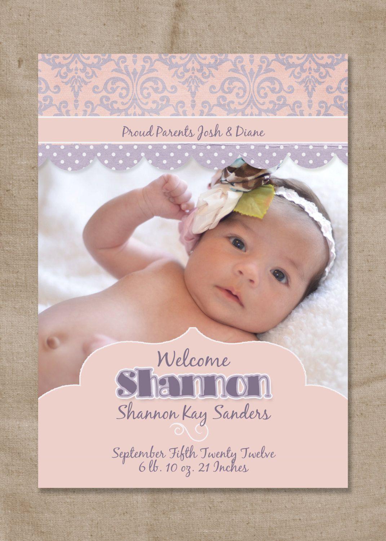 Printable pink and purple baby girl birth announcement for Printable birth announcements