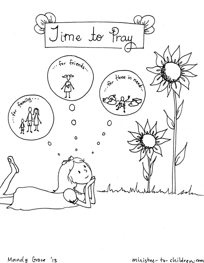 Time To Pray Coloring Page For Children Kids Church Lessons