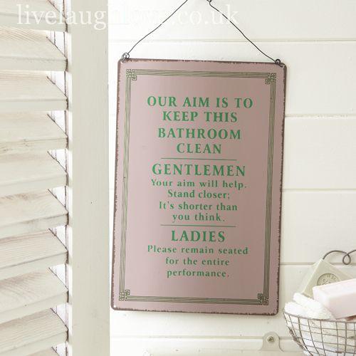 vintage style bathroom aim sign - Bathroom Accessories Vintage Look