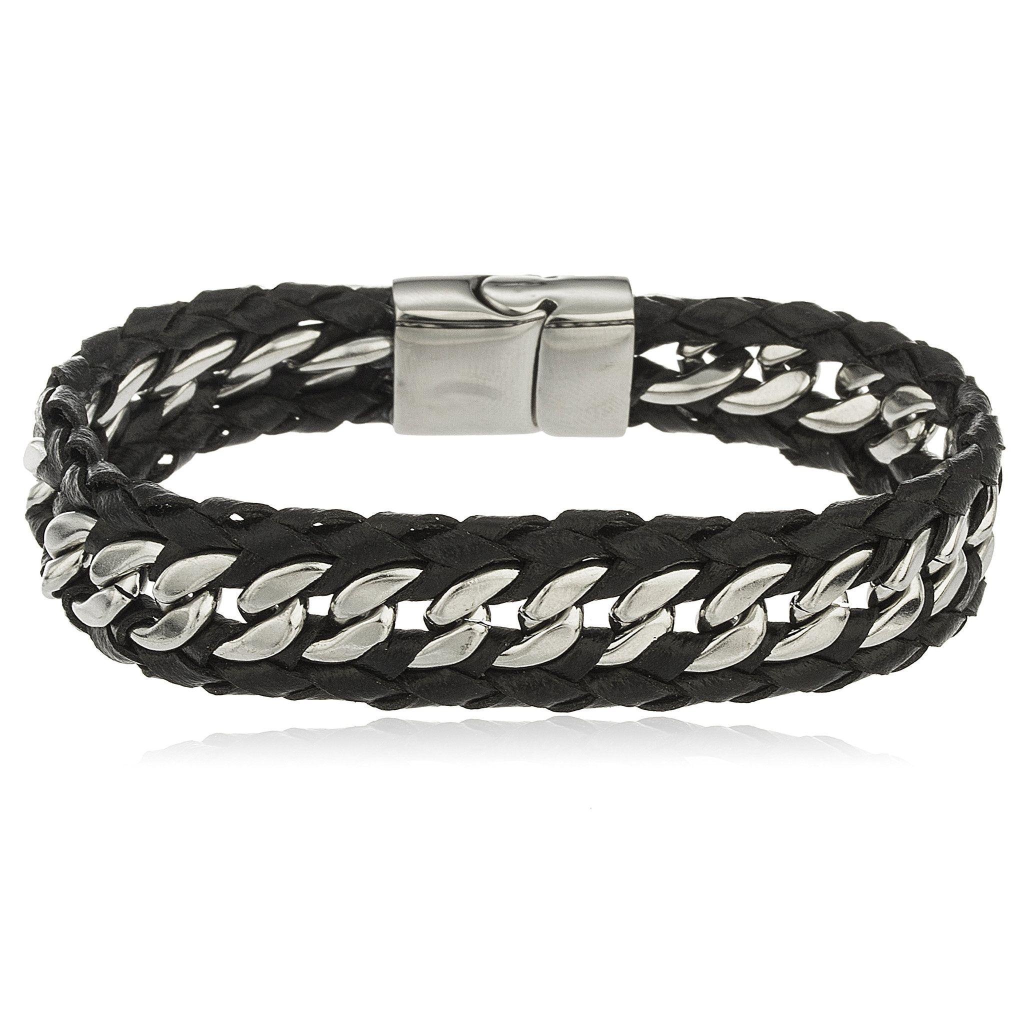 Fine Jewelry Mens Stainless Steel Braided Chain Bracelet CXG69y