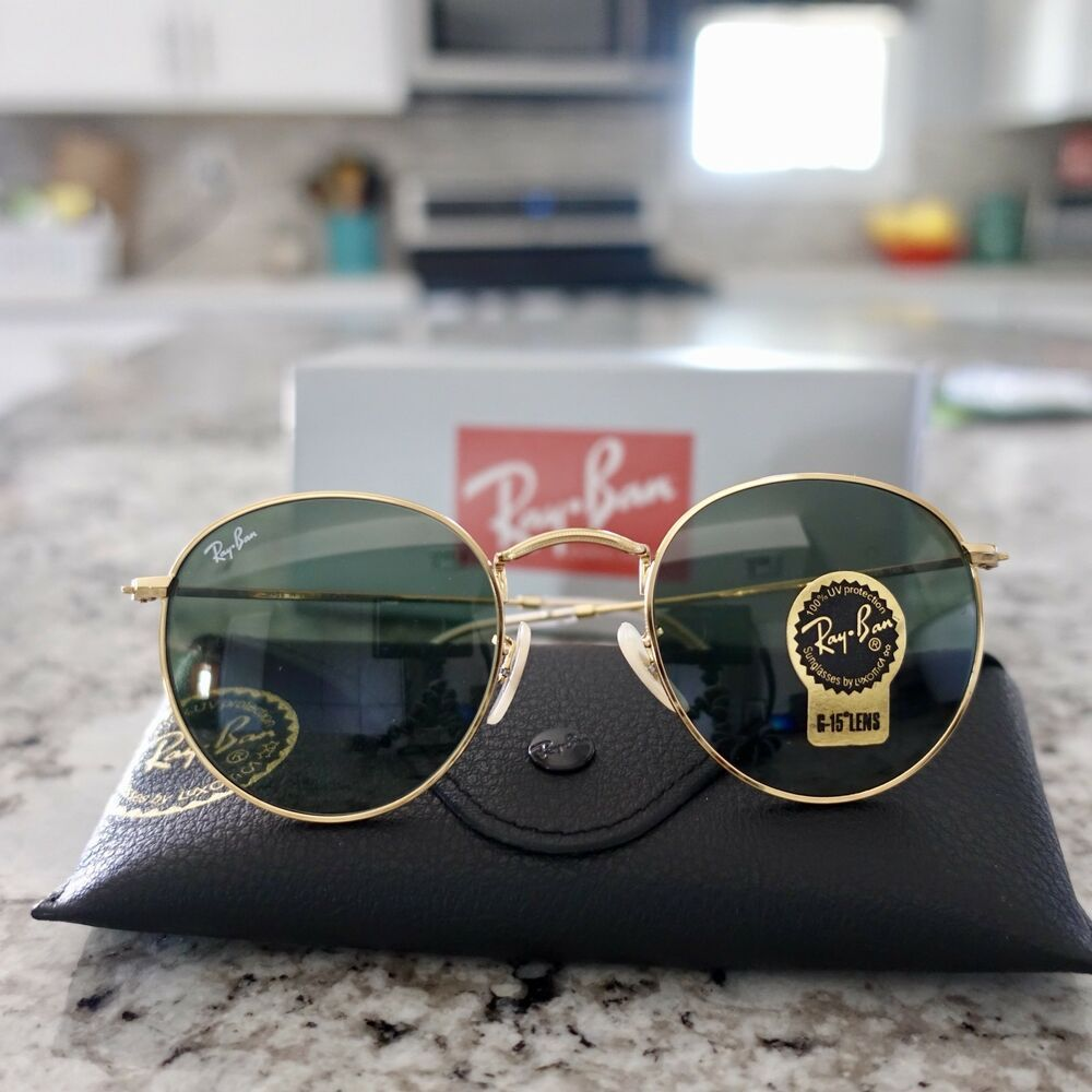Ray Ban 50mm Round Metal Gold Framed Sunglasses Fashion Clothing Shoes Accessories Unisexclothi Ray Ban Round Metal Round Metal Glasses Unisex Accessories