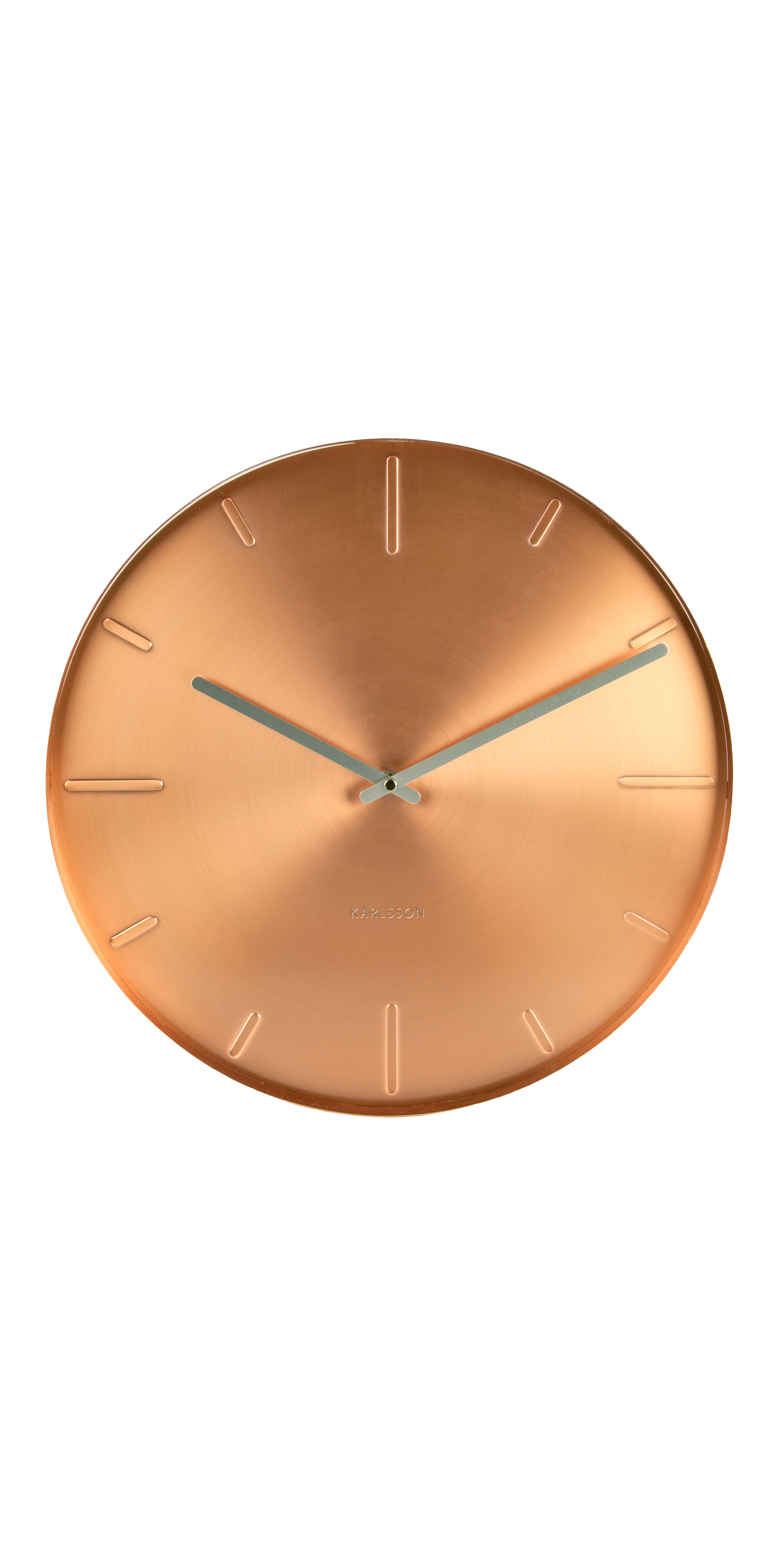 Round analog wall clock in metal