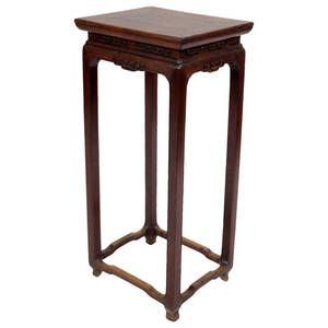 Antique Chinese Walnut Wood Flower Stand Tall Side Table Dh 0127