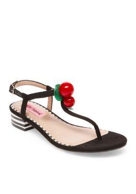 a96714e045c Betsey Johnson Women s Cherry Sandal - Black - 7.5M