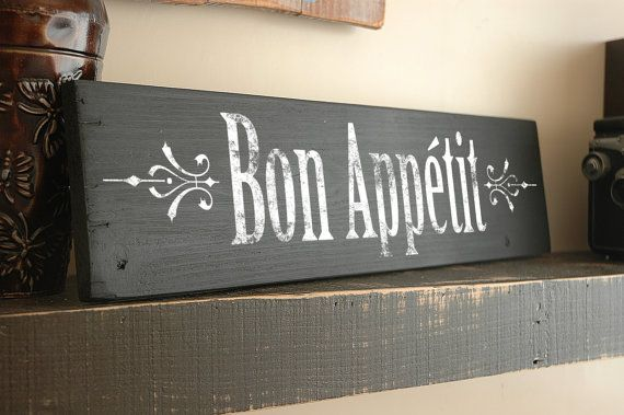 Bon Appetit Sign And French Decor On Reclaimed Wood Country Kitchen Decor French Decor Wooden Signs Diy