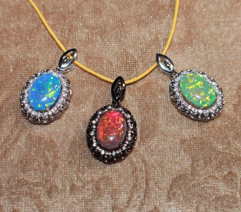 fire opal Cz necklace pendant gems black silver jewelry classic oval cocktail J7 #Pendant