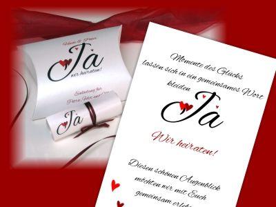 Hochzeitseinladung herzle in rot edle hochzeitseinladungsbox mit text hochzeitseinladung - Hochzeitseinladung text modern ...