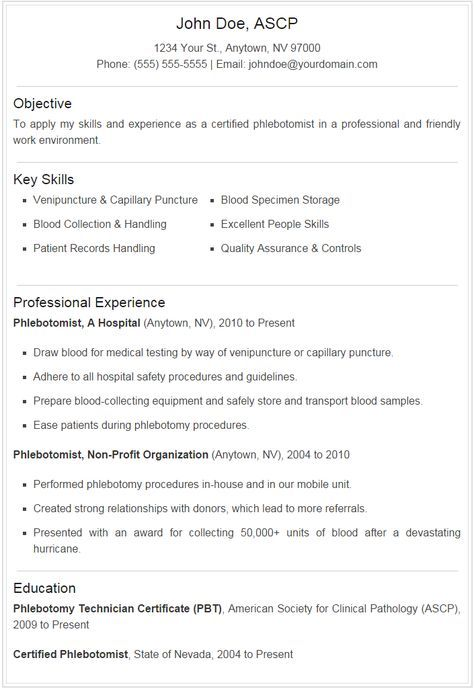 Phlebotomist Resume Sample Plus Downloadable Template - Stand out - phlebotomy sample resume