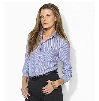 Lauren Ralph Lauren® Petites' Striped Wrinkle-Free Dress Shirt
