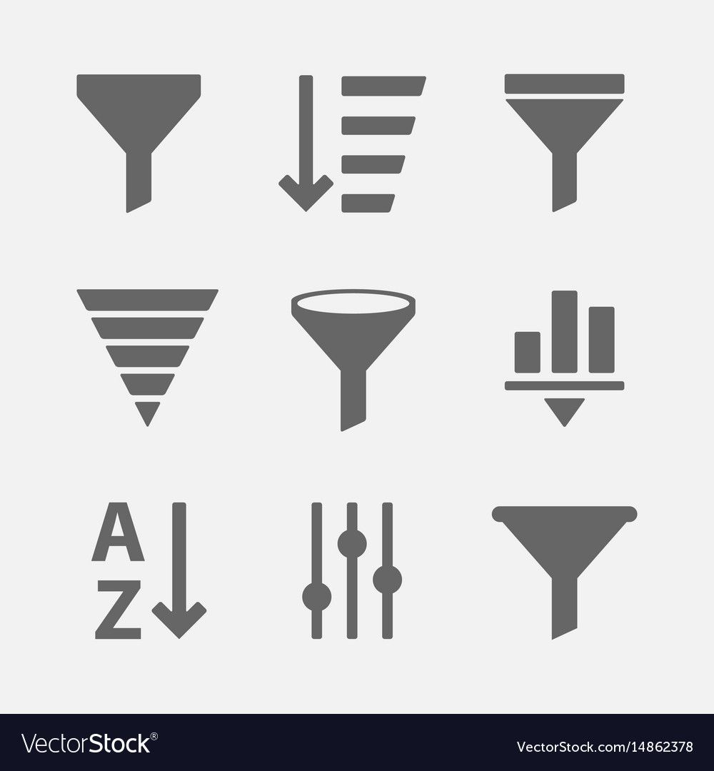 Filter Icon Set Royalty Free Vector Image Vectorstock Affiliate Set Royalty Filter Icon Ad Vector Free Fire Icons Icon Set Vector