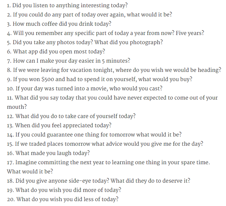 Interesting questions to ask your lover