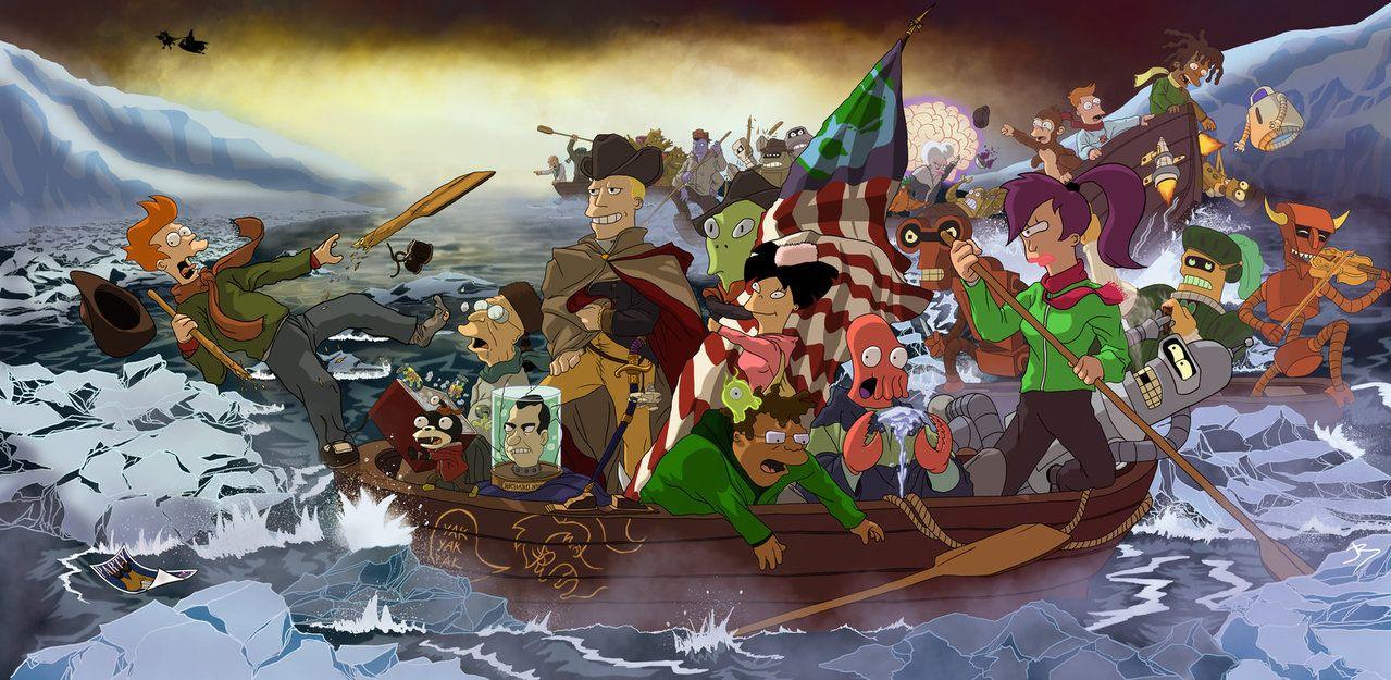 Brannigan Crossing The Delaware By Anothen Futurama Art Delaware