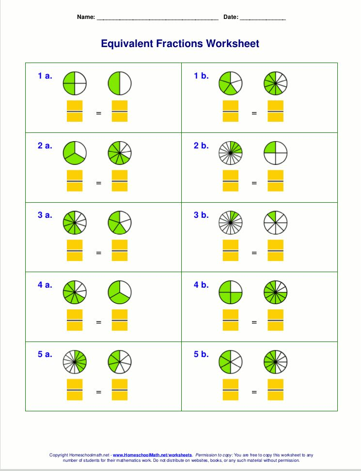 Visual Guides For Equivalent Fractions Worksheets Fractions Worksheets Free Math Worksheets Equivalent Fractions