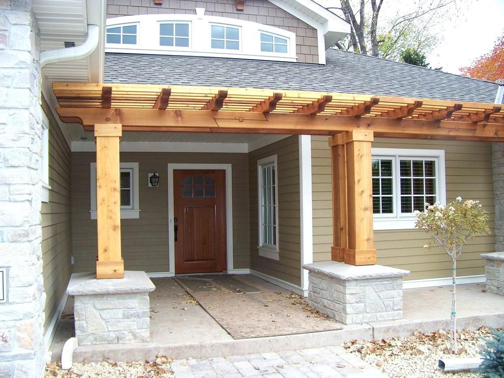 front door pergola front porch pergola with wooden doors entry craftsman  and natural stone columns front - Front Door Pergola Front Porch Pergola With Wooden Doors Entry