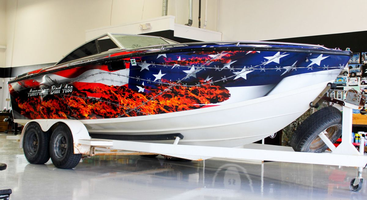 American Flag Vinyl Boat Wrap Zilla Wraps Boat Wraps Boat Offshore Boats