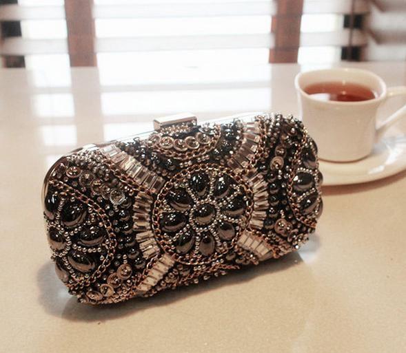 5d85f2e53 Novo luxo diamante jóia flor de cristal estilo sacos de embreagem dia  embreagens senhora bolsa bolsa