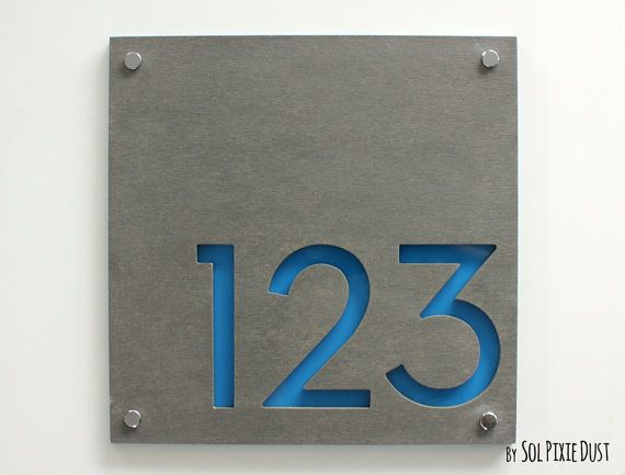 Modern house numbers square concrete with blue acrylic for Front door number plaques