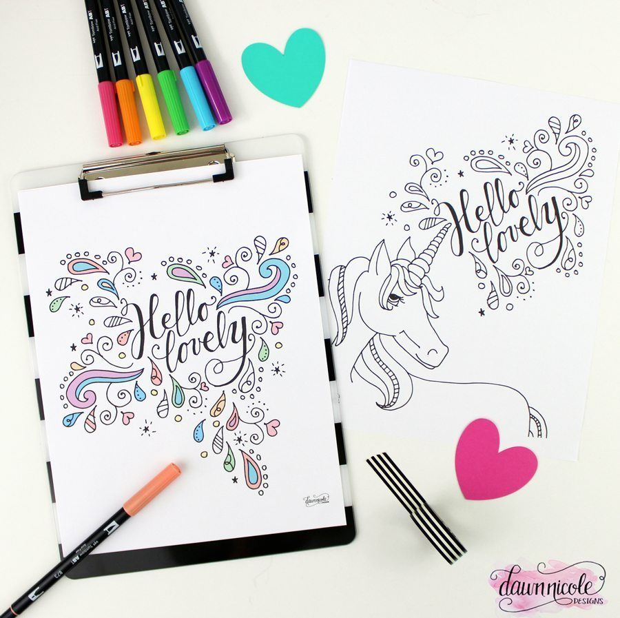 Hello Lovely Coloring Pages Unicorn Coloring Pages Free