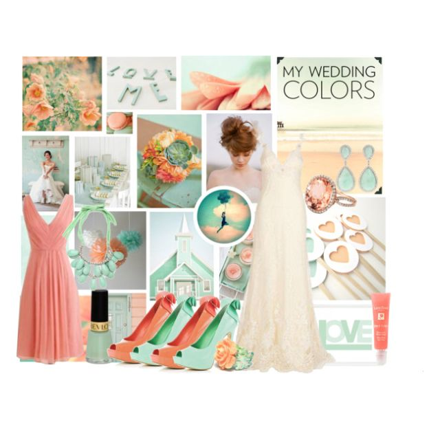 Mint Green And Coral Wedding Theme.